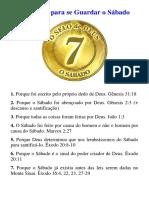70 Razões Para Se Guardar o Sabado