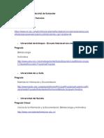 Universidades Pregrado Archivística-bibliotecología