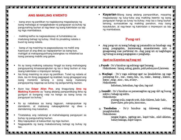 Example ng maikling kwento tagalog