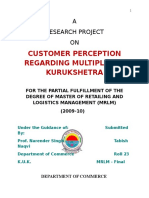 Customer Perception Regarding Multiplex in Kurukshetra