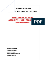 PREPARATION OF FINAL ACCOUNTS – WITH REGARD TO ORGANISATION
