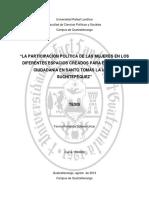 La Participación Política de Las Mujeres en Los Diferentes Espacios Creados Para Ejercer Su Ciudadanía en Santo Tomás La Unión