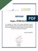Victoria Vela Ayape Certificado