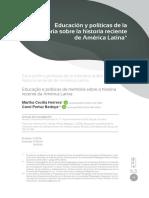 Educación y políticas de la memoria sobre la historia reciente de América Latina