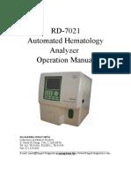 Rd-7021 Hematology User Manual New