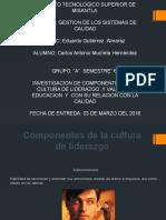 INVESTIGACION DE COMPONENTES DE LA CULTURA DE LIDERAZGO ,Y VALORES , EDUCACION  Y  CON SU RELACION CON LA CALIDAD