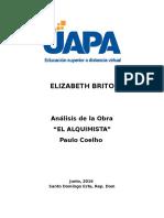 Analisis - Novela El Alquimista - Español II - Elizabeth Brito
