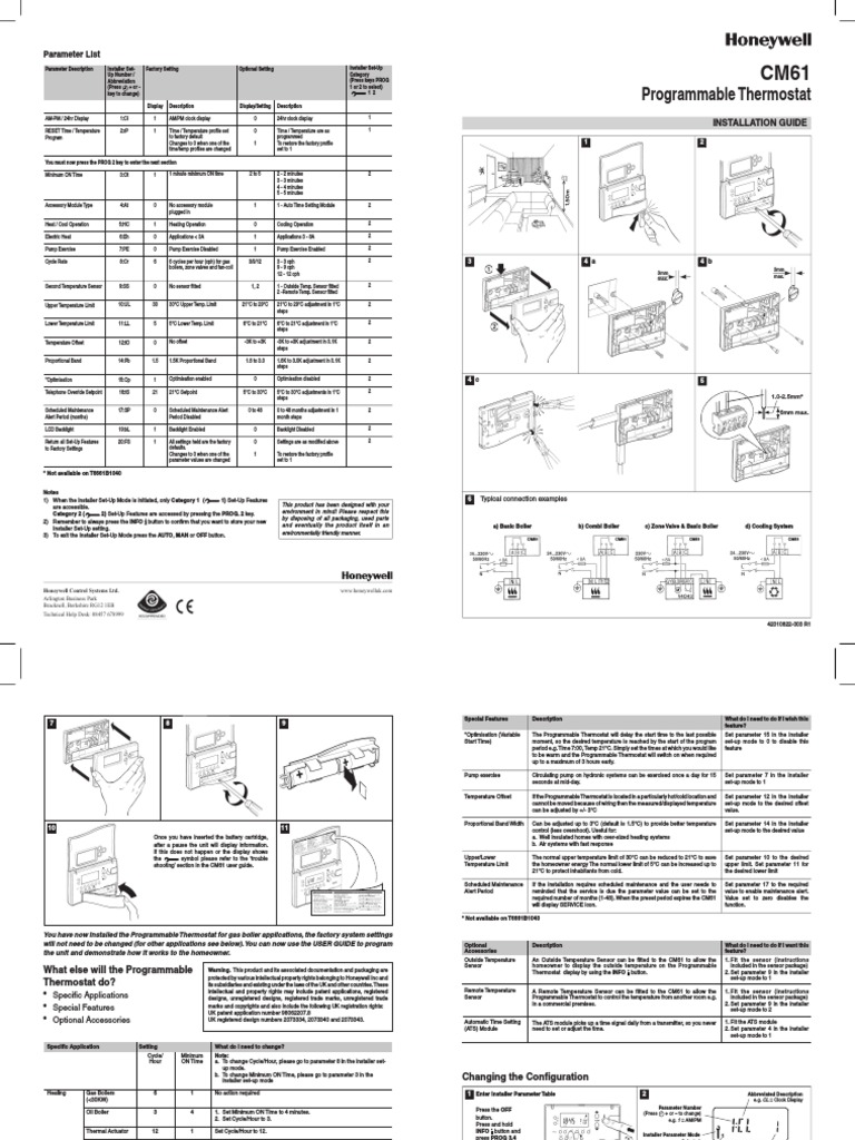 cm61 installation guide thermostat hvac rh es scribd com honeywell cm61 user guide Honeywell Thermostat Programming Manual