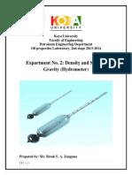 Practical Oil Properties Exp. No.2 Sp.gr by Hydrometer