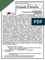 Prova de Português 9°  ano 1° bimestre 2016