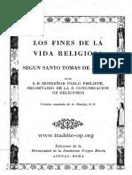 Los Fines de La Vida Religiosa Segun Sto Tomas Cardenal Paul Philippe OP