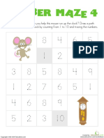 Number Maze Mouse Kindergarten