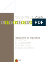 Program de Legislature du Conseil d'Etat de la Republique et Canton de Geneve