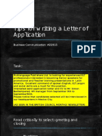 Tips for a Letter of Application