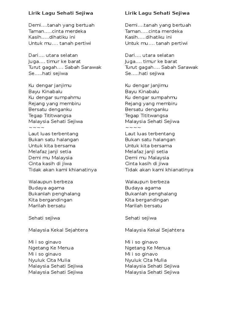 Lirik Lagu Sehati Sejiwa Malaysia