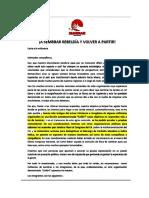 Carta a La Militancia de SEMBRAR