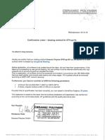 Confirmation Letter Wet Garnet Blasting 20 Years