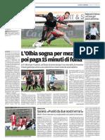La Nuova Sardegna Gallura 17-10-2016 - Calcio Lega Pro