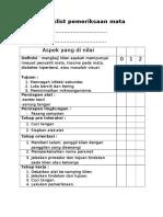 Checklist Pemeriksaan Mata