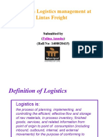 A Study on Logistics Management at Lintas Freight-ppt