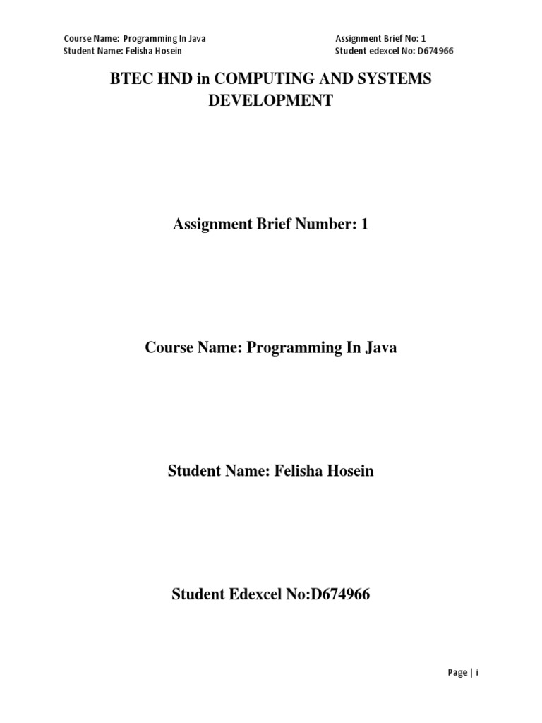 Assignment briefpdf java programming language compiler baditri Gallery