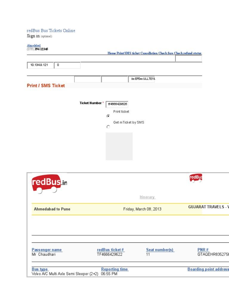 RedBus Bus Tickets Format Ticket Admission – Redbus Ticket Print