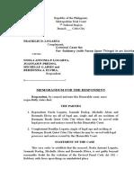 Republic of the Philippines Memorandum
