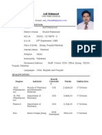 Asif Mahmood's Cv for Post of Lecturer Pharmacy