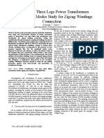Asymmetric modes of three phase fhree leg transformer with zigzag connection