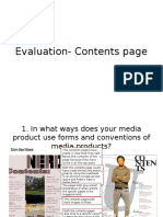 Evaluation- Contents Page