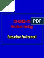 Petroleum Geology- Subsurface Environment