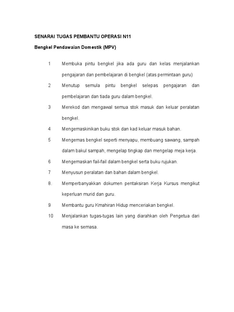Senarai Tugas Pembantu Operasi