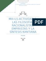 Miii-u1-Actividad 1. Las Filosofías Racionalistas, Empiristas y La Síntesis Kantiana