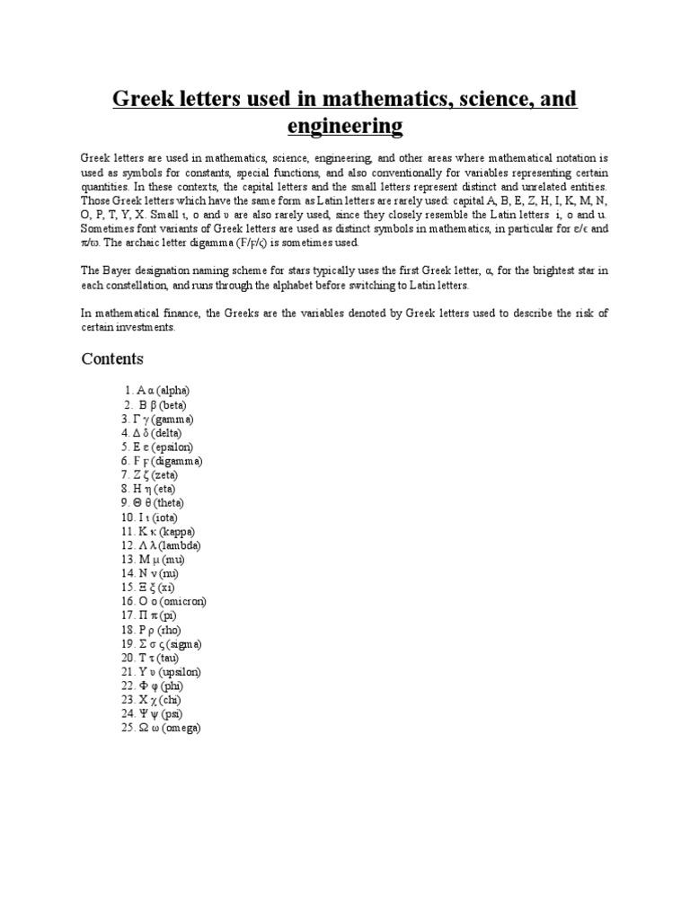 Greek Letter Before Kappa.Use Of Greek Symbols Docx Greek Alphabet Pi