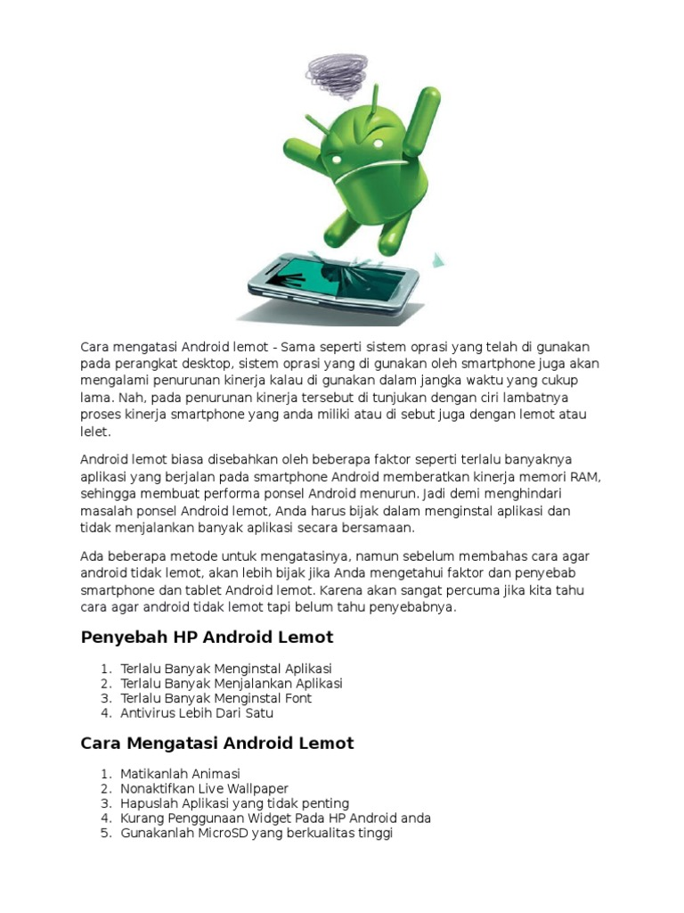 Cara Mengatasi Ponsel Android Lemot Atau Lelet