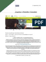 La e-participation à Medellin (Colombie)  - Lou D'Angelo - Rapport de Mission UdM 2016