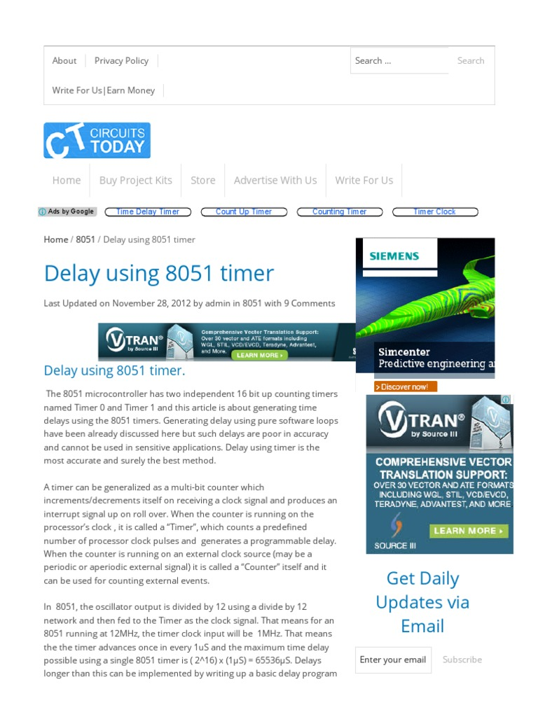 Delay Using 8051 Timer Electronic Circuits Digital Voltmeter Microcontroller Circuit Diagram