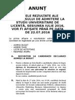 Precizari Privind Confirmarea Locurilor - Admitere IULIE 2016