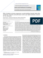 Effect of Polymer Extrusion Temperature on Polyvinylidene Fluoride Hollow Fiber Membranes Properties and Performance Used as Gas Liquid Membrane Contactor for CO2 Absorption
