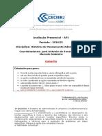 AP1 de HPA I 2016 2º - Gabarito