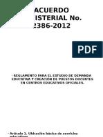 Acuerdo Ministerial No 2012