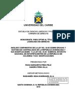 INFORME FINAL COMPLETO ANÁLISIS COMPARATIVO ENTRE LA LEY 50-88 DE RD Y LA LEY 30-86 DE COLOMBIA