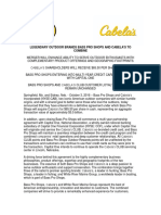 Initial press release on Cabela's, Bass Pro Shops merger