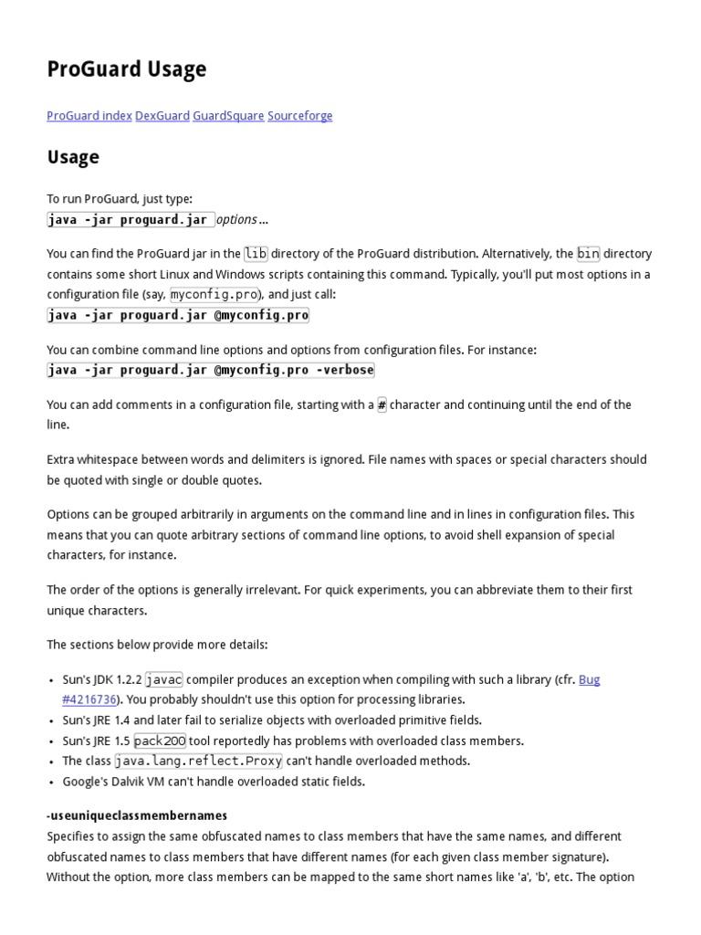 ProGuard Usage | Java (Programming Language) | Filename