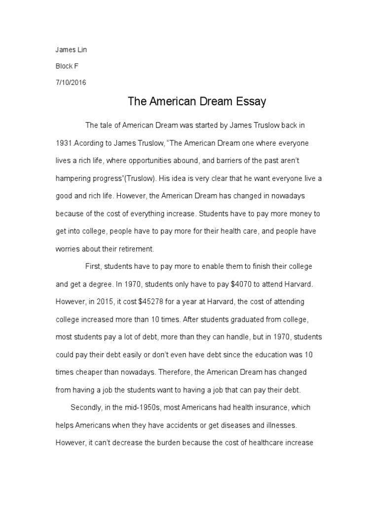The american dream essay retirement american dream