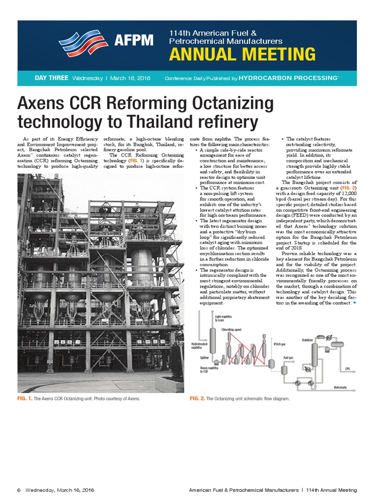 Axens Ccr Reforming Octanizing Technology to Thailand Refinery