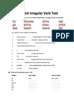 A Quick Irregular Verb Test