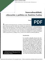 Interculturalidad educacion y  politica en america latina