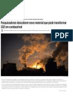 Pesquisadores Descobrem Catalisador Que Transforma CO2 Em Metanol