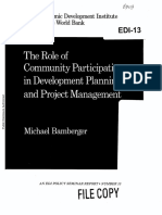 Community Participation in Devp Planning and Project Management - WORLD BANK